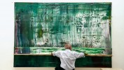 "Gerhard Richter working on ""Abstract Painting (911-4)"""