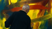"Gerhard Richter working on ""Abstract Painting (910-1)"""